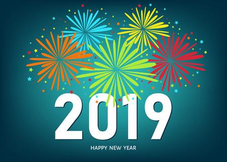 Frohes Neues Jahr-Grußkarte 2019 auf blauem Hintergrund mit buntem Feuerwerk. Vektorentwurfsschablone. Vektorgrafik