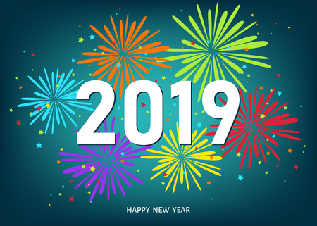 2019 Happy New Year greeting card on blue background with colorful fireworks. Vector decoration. Illustration