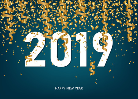 2019 Happy New Year greeting card on blue background with golden confetti and ribbons. Vector design template. Illustration