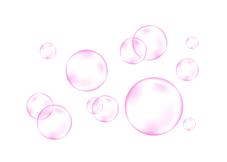 Fizzing air or water pink bubbles on white background. Dream. Fizzy sparkles. Gum. Vector texture.