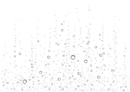 Underwater fizzing air, water or oxygen  bubbles on white  background. Effervescent drink. Fizzy sparkles in sea, aquarium. Champagne. Soda pop. Undersea vector texture. Ilustração