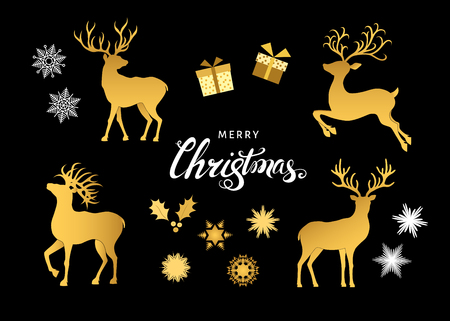 Collection of gold  Christmas  decorative  design  elements. Deer silhouettes, snowflakes and gift boxes  isolated on black  background. Golden Xmas reindeers. Vector  flat  illustration.