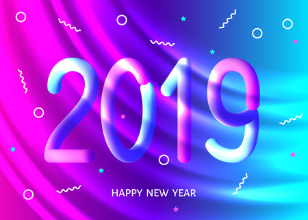2019 New Year abstract fluid background in trendy holographic ultra violet color. Purple neon wavy backdrop. Futuristic vector Christmas template.