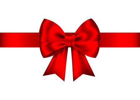 Bow cadeau réaliste rouge avec ruban horizontal isolé sur fond blanc. Élément de conception de vacances vectorielles pour bannière, carte de voeux, affiche. Vecteurs