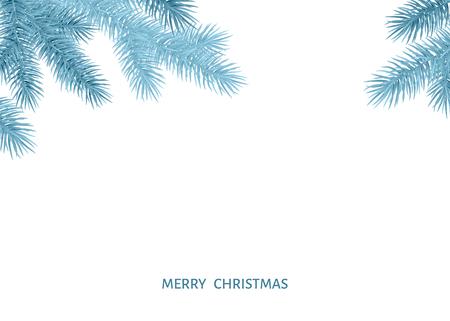 Tannenzweig im Raureif auf weißem Hintergrund. Silberne Fichte. Realistischer Weihnachtsbaum. Vektorillustration für Weihnachtskarten, Fahnen, Flyer, Partyplakate des neuen Jahres. Vektorgrafik