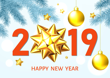 2019 happy New Year white  background with golden gift bow, balls  and glittering stars. Gold Christmas  decoration. Vector winter holiday greeting card template.