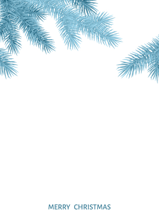 Fir  branch  in  hoarfrost on white background. Silver  spruce. Realistic Christmas tree. Vector illustration for Xmas cards, banners, flyers, New year party posters. Illustration