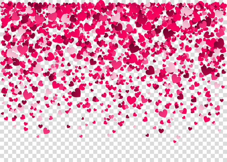 Pink  heart confetti, Valentine's day background.  Design element for romantic love greeting card, Women's Day postcard, wedding invitation. Vector  illustration.