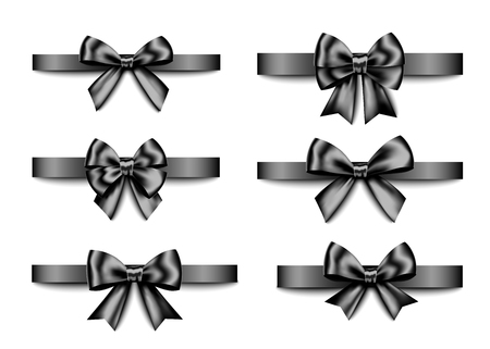 Bow and ribbon isolated on white background for black friday sale design. Vector realistic decor element for banner, business card, poster.