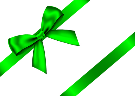 Green  realistic gift bow with horizontal  ribbon isolated on white background. Vector holiday design element  for banner, greeting card, poster. Vectores