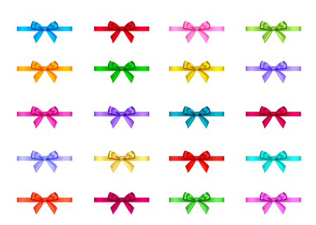 Decorative gift ribbon and bow isolated on white background. Blue, red, green, pink, golden holiday decoration.Vector set of decor elements  for banner, greeting card, poster.