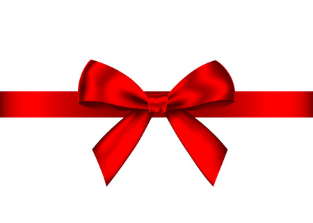 Red realistic gift bow with horizontal ribbon isolated on white background. Vector holiday design element for banner, greeting card, poster.
