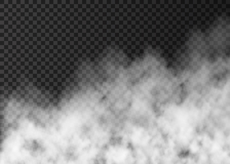 Fumée blanche isolée sur fond transparent. Effet spécial vapeur. Brouillard de feu vectoriel réaliste ou texture de brume.
