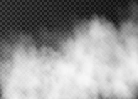 Weißer Rauch auf transparentem Hintergrund isoliert. Dampf-Spezialeffekt. Realistische Vektorfeuernebel- oder Nebeltextur. Vektorgrafik