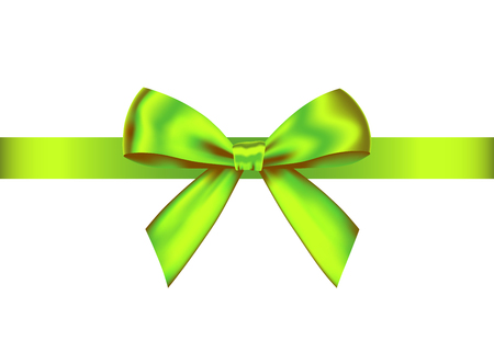 Green realistic gift bow with horizontal ribbon isolated on white background. Vector holiday design element for banner, greeting card, poster.