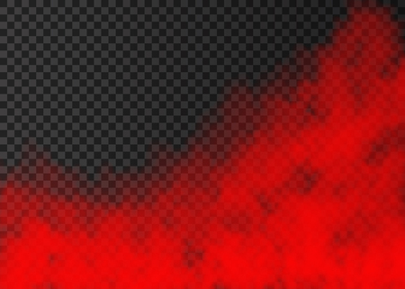 Red smoke  isolated on transparent background.  Steam special effect.  Realistic  colorful vector fire fog  or mist texture.