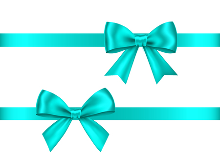 Blue gift bows set isolated on white background. Christmas, New Year, birthday decoration. Vector realistic decor element for banner, greeting card, poster.