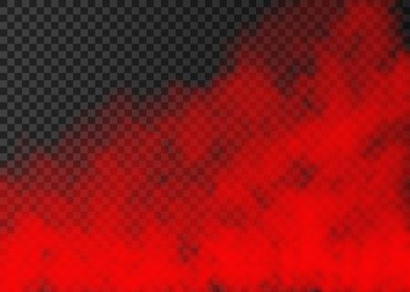 Humo rojo aislado sobre fondo transparente. Efecto especial de vapor. Textura de niebla o niebla de fuego vector colorido realista. Ilustración de vector