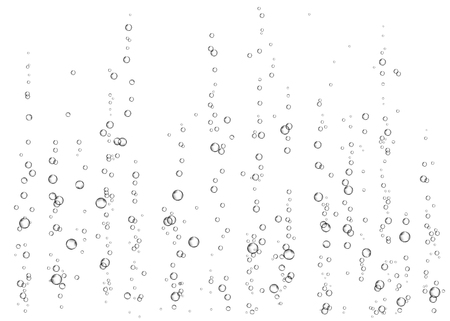 Champagne. Effervescent drink. Underwater fizzing air bubbles on white  background. Fizzy sparkles in water, sea, aquarium, ocean. Soda. Undersea vector texture.