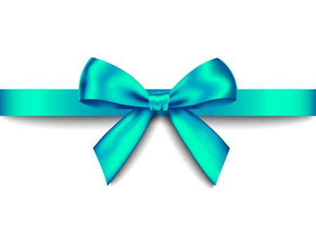 Bow cadeau réaliste vert avec ruban horizontal isolé sur fond blanc. Élément de conception de vacances vectorielles pour bannière, carte de voeux, affiche.
