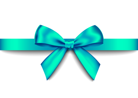 Groene realistische geschenk boog met horizontale lint geïsoleerd op een witte achtergrond. Vector vakantie ontwerpelement voor banner, wenskaart, poster.