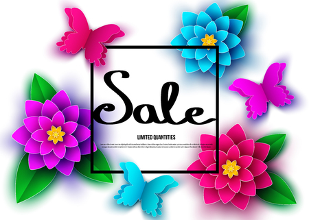 Spring  season  sale banner with  flowers. Clearance offer. Floral colorful  bright background. Vector   design elements for promotion offer, fashion, poster, voucher, greeting card.  イラスト・ベクター素材