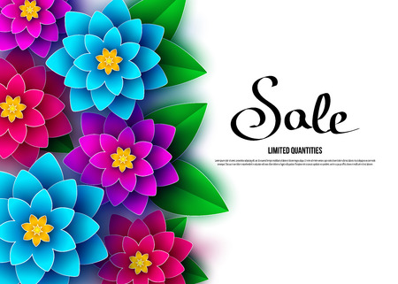 Spring  season  sale banner with  flowers. Clearance offer. Floral colorful  bright background. Vector   design elements for promotion offer, fashion, poster, voucher, greeting card. Illustration