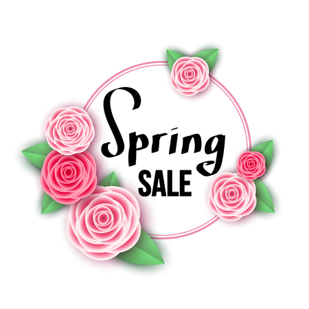 Spring  season  sale banner with  flowers. Rose. Clearance offer. Floral colorful  bright background. Vector   design elements for promotion offer, fashion, poster, voucher, greeting card.