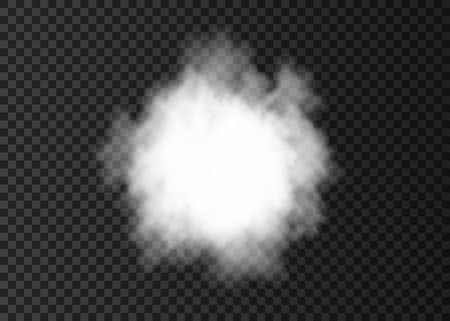 Explosion. White smoke circle. Spiral fog  track isolated on transparent background. Realistic vector cloud or steam   texture.  イラスト・ベクター素材