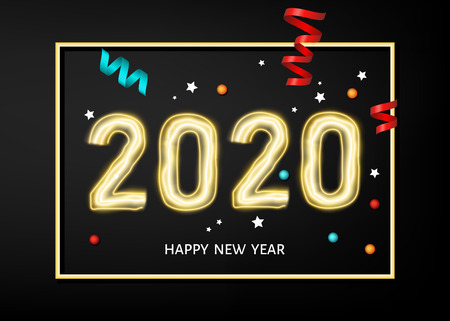 2020 happy New Year black  background with golden frame. Gold decoration with glowing neon number. Vector winter holiday greeting card template.