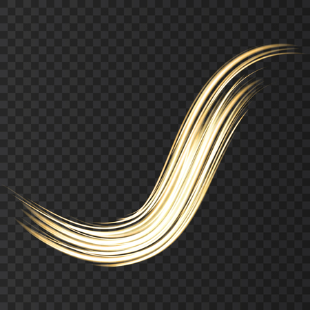 Gold neon wave lights effects isolated on black transparent background. Shining golden magic flash energy beams. Vector design element.
