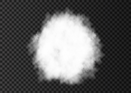 Explosion. White smoke circle. Spiral fog  track isolated on transparent background. Realistic vector cloud or steam   texture.