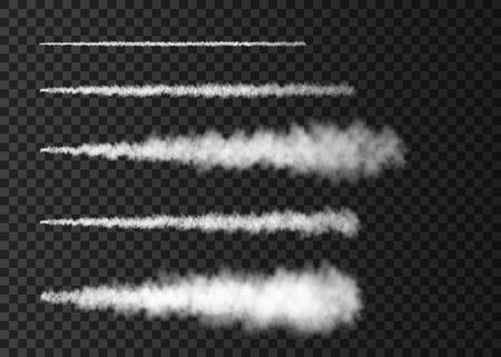 Rauch vom Weltraumraketenstart. Nebeliger Flugzeugweg lokalisiert auf transparentem Hintergrund. Nebel. Realistische Vektortextur. Vektorgrafik