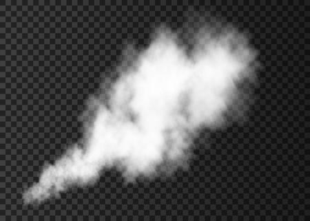 Witte rook uitbarsting geïsoleerd op transparante achtergrond. Stoomexplosie speciaal effect. Realistische vectorkolom van brandmist of misttextuur. Vector Illustratie