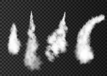 Rauch vom Weltraumraketenstart. Nebeliger Flugzeugweg lokalisiert auf transparentem Hintergrund. Nebel. Realistische Vektortextur.