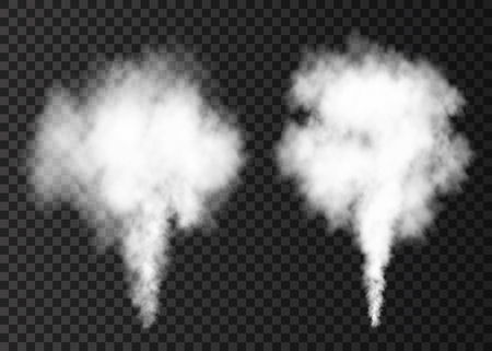 White smoke burst isolated on transparent background. Steam explosion special effect. Realistic vector column of fire fog or mist texture .