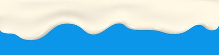 Milk splash. Yogurt texture. Dripping cream, liquid, ice cream. Flowing  glaze, white chocolate. Drip vector background  for dairy product. Ilustrace