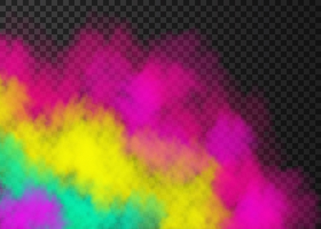 Pink, yellow, green smoke  isolated on transparent background.  Steam special effect.  Realistic  colorful vector fire fog  or mist texture. Illustration