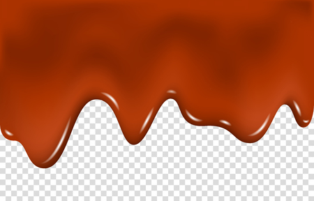 Dripping melted chocolate isolated on transparent background. Liquid cocoa cream. Drip. Realistic vector illustration.