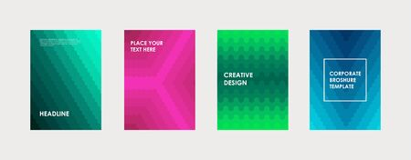 Colorful book cover design. Poster, corporate business annual report, brochure, magazine, flyer mockup. Green, pink, blue  a4 template. Halftone gradients. Modern geometric pattern. Vector.
