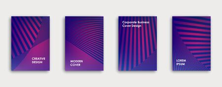 Colorful book cover design. Poster, corporate business annual report, brochure, magazine, flyer mockup. Pink, blue, purple  a4 template. Halftone gradients. Geometric pattern. Vector. Ilustração