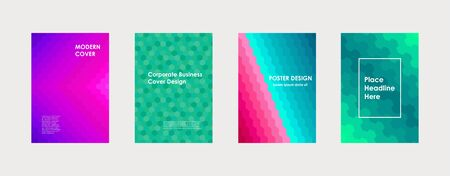 Colorful book cover design. Poster, corporate business annual report, brochure, magazine, flyer mockup. Green, violet, pink, blue  a4 template. Halftone gradients. Modern geometric pattern. Vector. Ilustração
