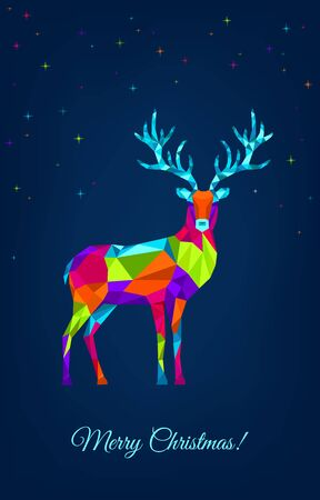 Christmas  greeting card.  Polygonal Xmas  reindeer and stars. Bright colorful  decoration on blue  background.Vector illustration.