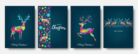 Christmas and Happy New Year pattern.  Polygonal Xmas  reindeer and  snowflakes. Bright colorful  tree decoration on blue background.Vector template  for cover,  greeting  card. Ilustração