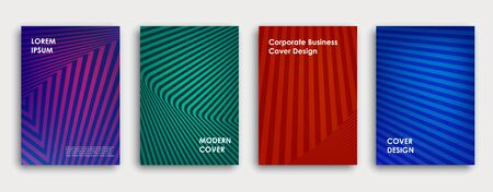 Colorful book cover design. Poster, corporate business annual report, brochure, magazine, flyer mockup. Green, red, blue, purple  a4 template. Halftone gradients. Geometric pattern. Vector.