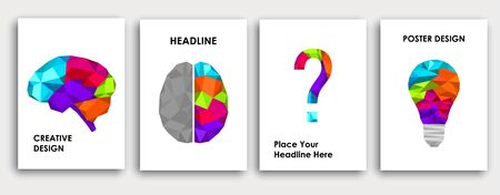 Colorful book cover design. Brain left and right side creative concept. Abstract science background. Low polygon light bulb concept of idea. Polygonal vector.