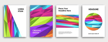 Colorful book cover design. Abstract background. Poster, corporate business annual report, brochure, magazine mockup. Green, pink, blue, purple  a4 template. Polygonal vector.