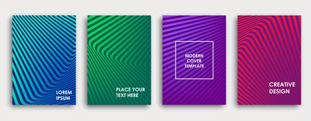 Colorful book cover design. Poster, corporate business annual report, brochure, magazine, flyer mockup. Green, pink, blue, purple  a4 template. Halftone gradients. Geometric pattern. Vector.  Ilustração