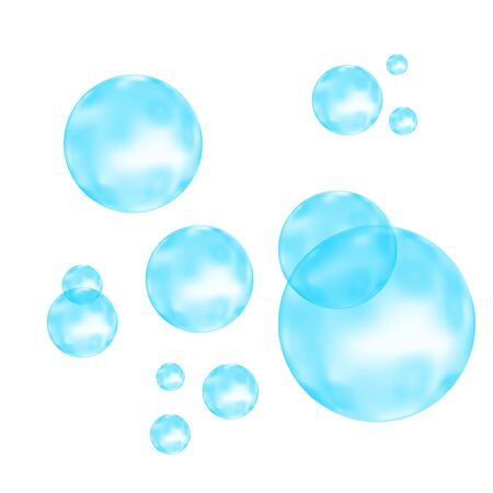 Fizz. Underwater fizzing air, water or oxygen blue  bubbles on white  background. Fizzy sparkles in sea, aquarium. Soda pop. Undersea vector texture.