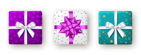 Gift box with purple, white  ribbon and bow, top view. Christmas, New Year party, Happy birthday or Valentine day package design. Blue present isolated on white background. Vector.